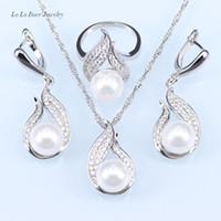 Ziemlich Birthday Present 925 Sterling Silber Schmuck Aushöhlen Wassertropfen Mit Nachahmung Weiße Perle Schmuck Sets Für Frauen