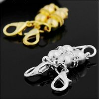 New Silver Gold Plated Magnetic Magnet Necklace Clasps ball ...