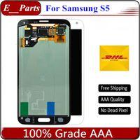 (100٪ الأصلي) لسامسونج غالاكسي s5 lcd i9600 g900f g900h g900m g9001 g900r lcd شاشة لمس الشاشة محول الأرقام الجمعية سريع شحن مجاني