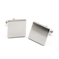 Fashion Metal Classic Cufflinks 316L stainless steel Plain Silver Square Casual Cuff Links Blank for Women Men 2017