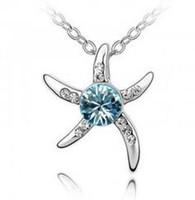 StarFish ожерелье ювелирных кристаллы серебро способ покрыл инкрустированный Алмазный Изысканный New Designs ожерелья для женщин Рождественского подарка