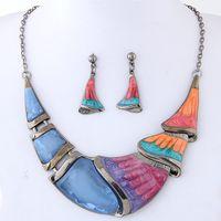 Enamel necklaces For Women Set Turkish Bijoux Peacock Geometric Pendant Jewelry Party Dress Accessory