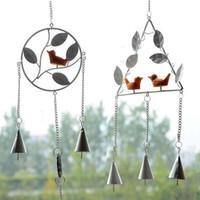 Retro Metall Vogel Design Windbell Dreieck Runde Form Windspiel für Home Wandbehang Dekor Liefert 8 5hl BB