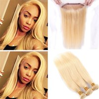 Pre desplumado 613 Blonde 360 ​​Lace Frontal Closure With Bundles 8A Platinum Blonde Recto malasia El cabello humano teje con 360 Lace Frontal