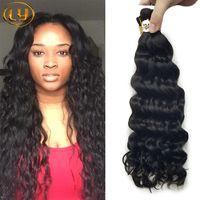 Human tranças do cabelo da qualidade superior do cabelo brasileiro 50g massa onda profunda Sem Trama molhado e ondulado profunda Curly Micro mini-trança volume do cabelo