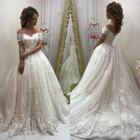 Elegant Off- Shoulder Wedding Dresses Lace Ball Gown Sweethea...