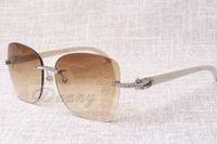 Producenci Sprzedający bezramowe okulary przeciwsłoneczne T8100905 Wysokiej Jakości Mody Okulary przeciwsłoneczne Białe okulary Wielkość: 58-18-140 mm