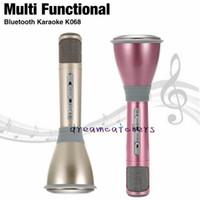 Kablosuz Bluetooth Mic Ile K068 Mikrofon Hoparlör Kondenser Mini Karaoke Oyuncu KTV Şarkı Kayıt Android IOS Telefon Bilgisayar için