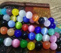 8 мм круглые бусины,Бесплатная доставка!Сорт кошачий глаз стеклянные бусины, 1.0 мм отверстие, белый/крем/розовый / Lt порошок / Dk коричневый / Dk желтый / Lt розовый / оливковый / мульт