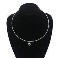 Europäische Art einfache runde Kugel Anhänger Drehmomente Frauen Damen Metall Silber Draht Halskette Halsband Aussage Edelstahl