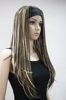 جودة عالية أزياء براون مختلطة 3/4 شعر مستعار مع رباطات شعر مستعار طويل مستقيم جديلة نصف الضفائر المرأة