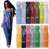 Largos vestidos maxi cat impreso verano dress mujeres boho casual beach holiday chaleco vestido de moda sexy slim bodycon tank top vestidos b557 10