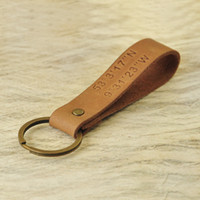 Coordinate Leather Keychain Father' s Day Gift Custom mo...