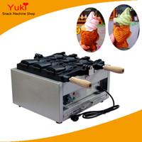 Popüler 3 adet elektrikli balık waffle makinesi açık ağız Kore balık waffle makinesi Taiyaki makinesi ticari dondurma balık şekli waffle fırıncı