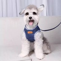 Denim vest type Dog Leashes pulling rope cute teddy chest st...
