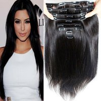 120g Clip In Indian Human Hair Extensions 8pcs set Natural C...