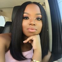 Lace Front Human Hair Wigs Bob Wigs With Baby Hair 150% Dens...