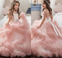 Blush Pink Girls Pageant Dresses 2018 Ball Gowns Cascading Ruffles Unique Designer Bambino Glitz Flower Girls Abiti per la cerimonia nuziale MC1290