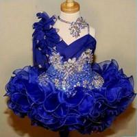 Söt tjej glitz pageant klänningar 2017 kunglig blå spets blomma flicka klänningar handgjorda blommor pärlor kristaller tiers toddler pageant klänningar ba