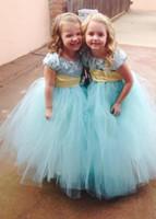 Toddler Pageant Blue manga corta vestido de bola Tulle vestidos de niña de las flores Niñas Vestidos baratos vestidos de satén Sash Vestidos de niña de las flores para la boda