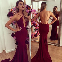 Burgundy Sexy V Neck Mermaid Prom Dresses Party 2017 Evening...