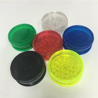 Vente en gros 500 morceaux / lot pas cher 2,63 pouces six couleurs acryliques herbes meuleuses à 3 pièces grindières en plastique plastique meuleuses meuleuses d'herbe franche expédition