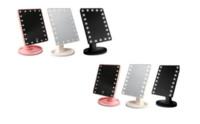 LED Compacto Espelho de Maquiagem Cosméticos Desktop 360 rotação Portátil 16 22 luzes LED Iluminado Maquiagem de Viagem Espelho para As Mulheres Preto Branco Rosa