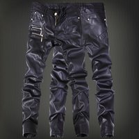 Wholesale- Winter Motorcycle Mens rock leather pants with zippers Black Faux Tight skenny Plus size 30 31 32 33 34 36 Punk trousers