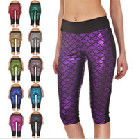 c2eb406195c Mermaid Fish Scale Leggings Capri Pants High Waist Side Patchwork Yoga Pants  Pilates Fitness Leggings Cropped Trousers OOA3205