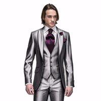 Новые поступления Одна кнопка серебряный жених смокинги пики пик отворотки жениха лучшие мужские костюмы мужские свадебные костюмы (куртка + брюки + жилет + галстук) H: 498