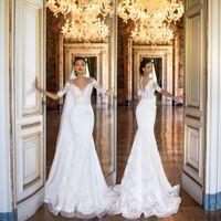 Vestidos de Novia 인어 웨딩 드레스 Vinage 2019 얇은 목 환 환상 다시 가운 드 Mariage 신부 가운 슬리브 레이스 Casamento