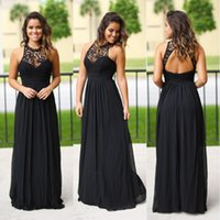 Sexy Long Black Chiffon Junior Bridesmaids Dresses Halter Neck Cheap Lace Country Beach Summer Bridesmaid Dress Wedding Guest Party Gowns