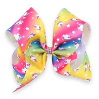 Rhinestone Rainbow Unicorn Jo Jo Hair Bow Large Jojo Bows Un...