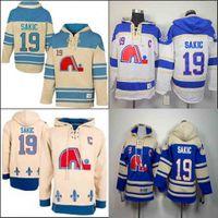 Quebec Nordiques - Joe Sakic - Kapuzenpullover mit Kapuze, 19 Farben, Blau, Weiß, Zeit, Joe Sakic, Pullover, Hoodies, Jersey Hoody, Genäht