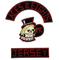 NEUE ANKUNFT COOL MC ACES EIGHTS JERSEY STICKEREI PATCH MOTORCYCLE CLUB WESTE OUTLAW BIKER MC JACKET PUNK EISEN AUF PATCH KOSTENLOSER VERSAND
