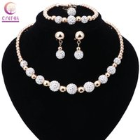 2020 Women Bridal Wedding Party Accessories Gold Plated Rhinestones Crystal Necklace Bracelet Earring Ring Jewelry Sets