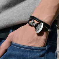 Al por mayor-1pcs hecha a mano pulsera de la runa de Viking Norse Viking celtas pulsera de martillo pulsera de cuero amuleto amuleto talismán joyería BT07