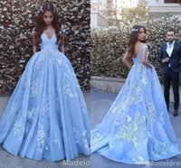 Gorgeous Light Sky Blue Arabic Dresses Evening Wear 2017 Off...