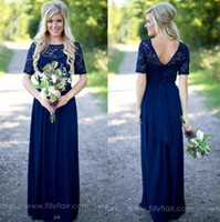 Sotto $ 70 Country Style Blu Navy Abiti da sposa Sheer Crew Neck Top in pizzo Maniche corte in chiffon Backless Abiti lunghi Maid of the Honor