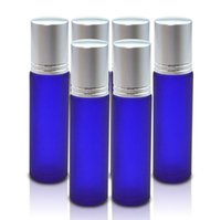 Blue 10ml Frosted Glass Roll On W  Stainless Steel Roller Ba...