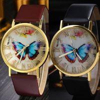 Orologio da polso analogico al quarzo stile farfalla stile moda farfalla in pelle Gofuly eccellente nuovo