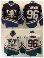 Anaheim Ducks 96 Charlie Conway Jersey Men 1993 Mighty Ducks Movie Charlie  Conway Jerseys Uniforms Third Alternate Purple White 3b86c6912