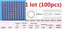 100 قطع 1 وحدة AG1 LR621 164 364 364A SR621 LR60 1.55 فولت بطاريات زر خلية البطارية القلوية عملة صينية شحن مجاني
