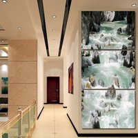 HD printed 3 piece Mountain stream water stone Painting wall...