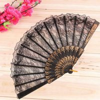 All'ingrosso-1pc Vintage Fancy Dress Costume cinese Party Wedding Dancing Pieghevole nero Pizzo Fan mano abanicos para boda leques de casamento