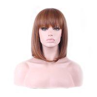 WoodFestival المرأة الباروكات الشعر الاصطناعية مقاومة للحرارة الألياف الاصطناعية شعر مستعار 35 سم قصيرة البني شعر مستعار متوسطة الطول الكتف طول الشعر على التوالي