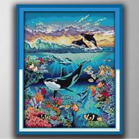 Mundo bajo el agua Fish Mar Hecho a mano Stitch Craft Herramientas de artesanía Bordado Conjuntos de costura Contada Impresión en lienzo DMC 14CT / 11CT