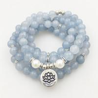 SN1205 Diseño de mujeres 8 mm Piedra azul 108 Beads Mala pulsera o collar Lotus Charm Yoga Pulsera