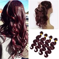 4Pcs Brazilian Wine Red Virgin Human Hair Bundles With 360 F...