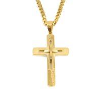 Neue Männer Edelstahl Aushöhlt Kreuzung Anhänger Halskette Schmuck Vergoldet Anhänger Halskette Für Geschenk